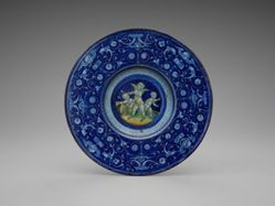 """Berettino"" plate with blue on blue decoration"