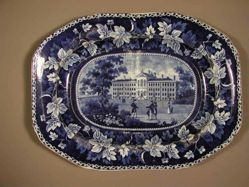 Platter with a view of Boston, Almshouse