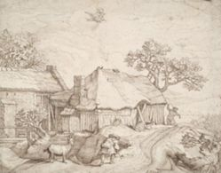 Farm Buildings with Peasants, a Goat, and the Abduction of Ganymede