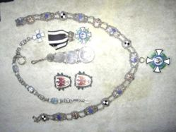 Silver watch chain set with 19th century Prussian coins