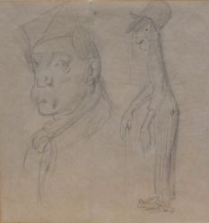 Caricatures:  Sketch of a Man's Head and a Male Figure