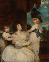 Portrait of Jane, Countess of Harrington, with her Sons, the Viscount Petersham and the Honorable Lincoln Stanhope