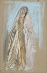 Study of lady in yellow dress and pink scarf