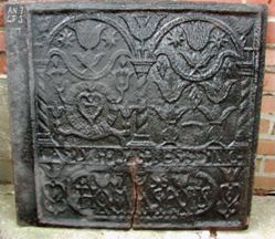 """Stove plate, """"Good for Evil of 1758"""""""