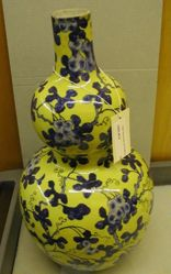Yellow Gourd-Shaped Vase with Blue Flowers