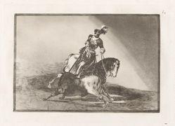Carlos V. lanceando un toro en la plaza de Valladolid (Charles V Spearing a Bull in the Ring at Valladolid), Plate 10 from La tauromaquia