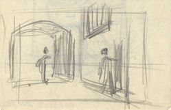 Street scene with figures (recto); Architectural study (verso)