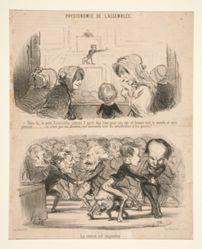 """""""Vois-tu, le petit Estancelin comme il parle..."""" and """"Le seance est suspendue"""", from Physionomie de l'Assemblee"""