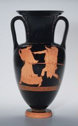 Red-figure Amphora; A: Man Pursuing Woman; B: Woman