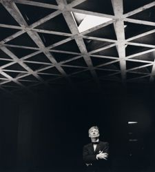 Louis Kahn looking at his tetrahedral ceiling in the Yale University Art Gallery