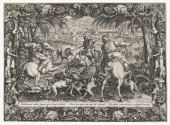 Hunt for Ostrich, from the series Hunting Scenes, in Ornamental Frames