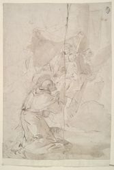 Madonna and Child Enthroned in the Clouds, Adored by Saint