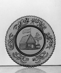 Log Cabin Cup Plate