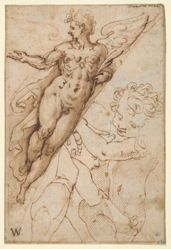 Flying Angel (recto); Study of Two Hands (verso)