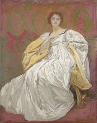 Study, Lady in white dress seated in chair, red background
