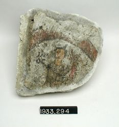 Painted Tile with Man's Upper Body and Head Inside Circle