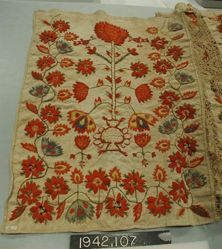 Five pieces peasant embroidery on linen