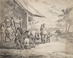 Men Shoeing a Horse Outside a Country Inn