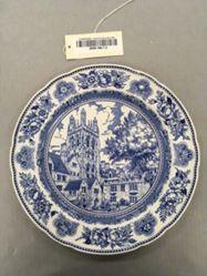 Plate with view of Wrexham Tower Memorial  Quadrangle
