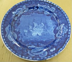 """Plate with a View of """"The Constitution in Close Action with the Guerrière"""""""
