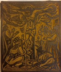 Linoleum block for Crucifixion