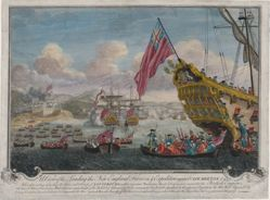 A View of the Landing of the New England Forces in ye Expedition against Cape Breton, 1745