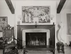 "Interior view of Katherine S. Dreier's West Redding home, ""The Haven"" -- fireplace with Heinrich Campendonk mural [YUAG 1946.64] over mantel"