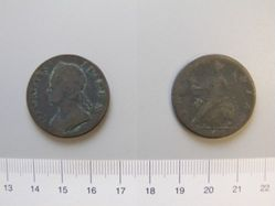 Halfpenny of George II, King of England from London