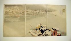 "Tokyo Meisho: Shinkei no uchi matsuchi-yama no kei (triptych) ""Famous Places in the Eastern Captial. Real view of Matsuchi Hill on a Snowy Evening in the Second Lunar Month"""