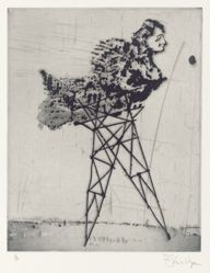 Zeno at 4am (pylon) 2001, from suite of 9 etchings