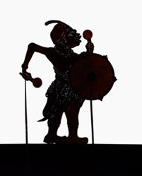 Shadow Puppet (Wayang Kulit) of a Drummer, Tambor, or Tambur by Enthus Susmono