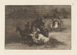 Combat dans une voiture attelee de deux mulets (Fight in a Carriage Harnessed to Two Mules), Plate G from La tauromaquia (third edition)